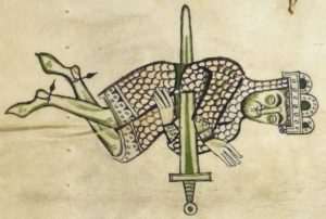 Saul-falls-on-his-sword-from-the-Worms-Bible-c1148