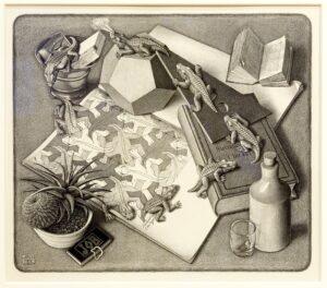 "Maurits Cornelis Escher, ""Reptiles,"" 1943. (Robin Lubbock/WBUR)"